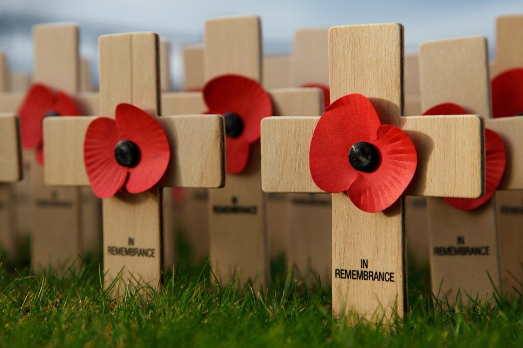 Wooden crosses with poppies on them.